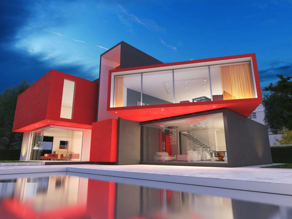 แบบบ้านโทนสีแดง